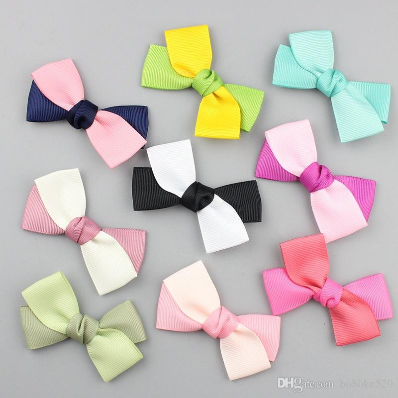 17b76939a4be 3inch Mix Color Ribbon Bows Clips Hairpin Girl s Hair Bows Boutique ...
