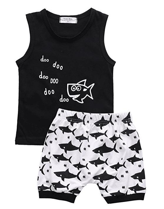 Summer Cartoon Fish Shark Print set for Boys Outfits Toddler Kids Clothing Sets Fashion Tshirt Shorts Children Suits New