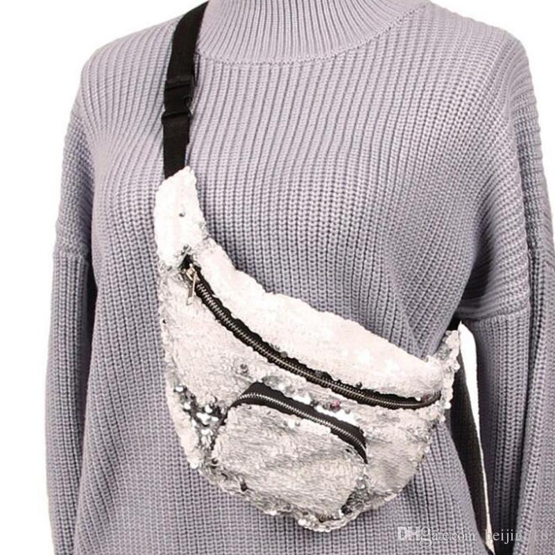 2018 Sequin Glitter Waist Fanny Pack Belt Bum Bag Pouch Mermaid Purse bag Pouch pocket Clutch Sequins waist bag Cell Phone Straps & Charms
