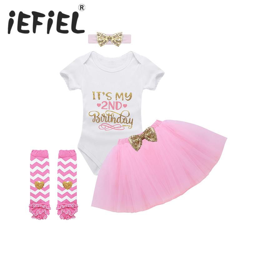 9093f9e4d 2019 IEFiEL Infant Baby Girls Outfit Glittery Letters Its My 2nd Birthday  Printed Romper With Tutu Skirt Leg Warmers And Headband From Buycenter, ...