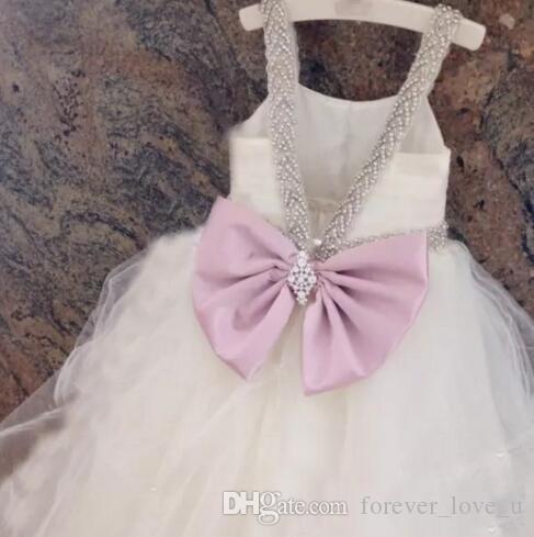 Prinzessin Flowergirlkleider Schöne Ballkleid Blume Mädchen Hochzeits Party Kleider Weiche Tüll Kristalle Bow v Zurück Sonderanfertigte Fairy Sweep Zug