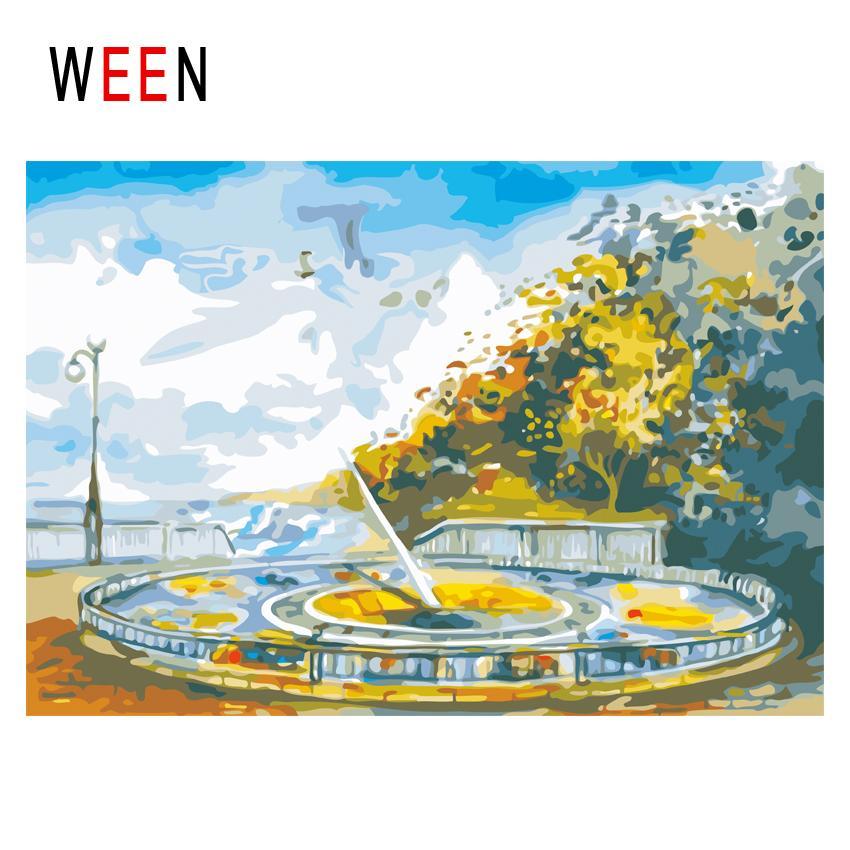 Ween Park Diy Malen Nach Zahlen Abstrakte Sky ölgemälde Auf Leinwand Baum Cuadros Decoracion Acryl Spielplatz Wandkunst Geschenk