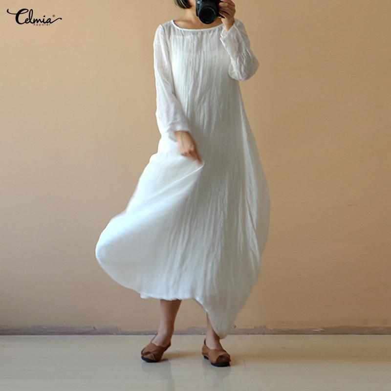 0f95b82df0987 2018 Summer Celmia Women Vintage Linen Dress Casual O Neck Long Sleeve  Solid Long Maxi Dresses Kaftan Vestidos Plus Size