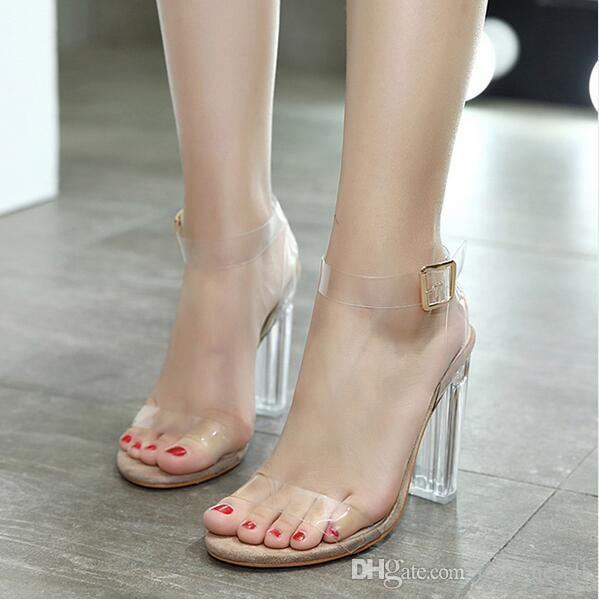 1cf4f0da8 Compre Bombas Para Mujer Peep Toe Tacones Altos Transparentes Tacones Para Mujer  Zapatos Transparentes Para Mujer Tacones Gruesos A  27.03 Del Love heself  ...