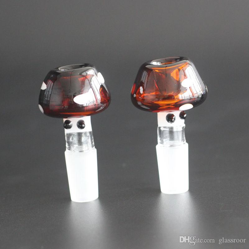 New Glass Bowl Pieces For Bongs Smoking Glass Bowls 14mm Colorful Mushroom Male Female Bowl For Smoking Wax Water Pipes Piece Bong Hookah