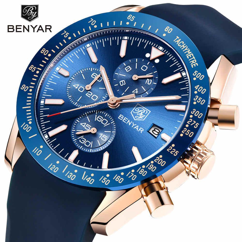 07c80a353e9 BENYAR Men Watches Brand Luxury Silicone Strap Waterproof Sport Quartz  Chronograph Military Watch Men Clock Relogio Masculino S915 Watches On Sale  Watches ...