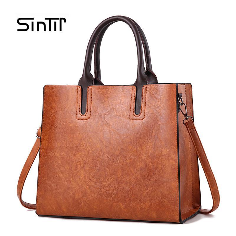42b2fc1cbbc034 SINTIR Brand Women Pu Leather Handbags Ladies Large Tote Bag Female Square  Shoulder Bags Bolsas Femininas Sac A Main Brown Black Y18102204 Ladies Bags  ...