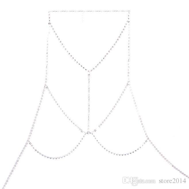 Moda Donna Oro Argento Strass Catene Gioielli Gioielli Flash Shiny Strass Reggiseno Corpo Catene Gioielli in oro argento