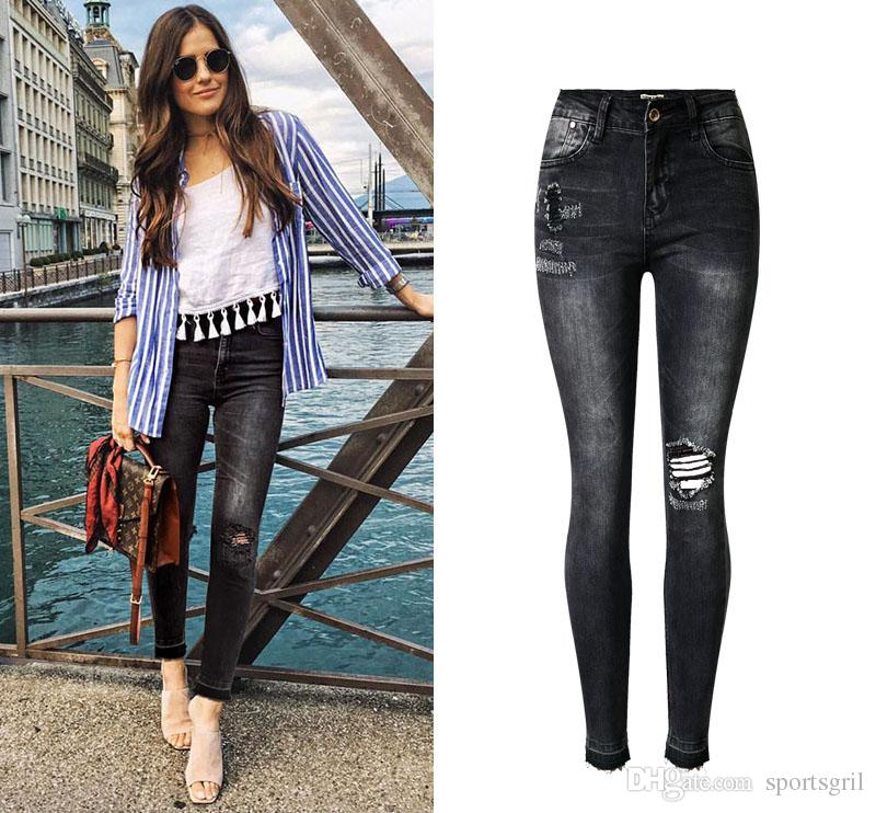 2019 Womens Slim Dark Gray Rip Jeans Designer Stretch
