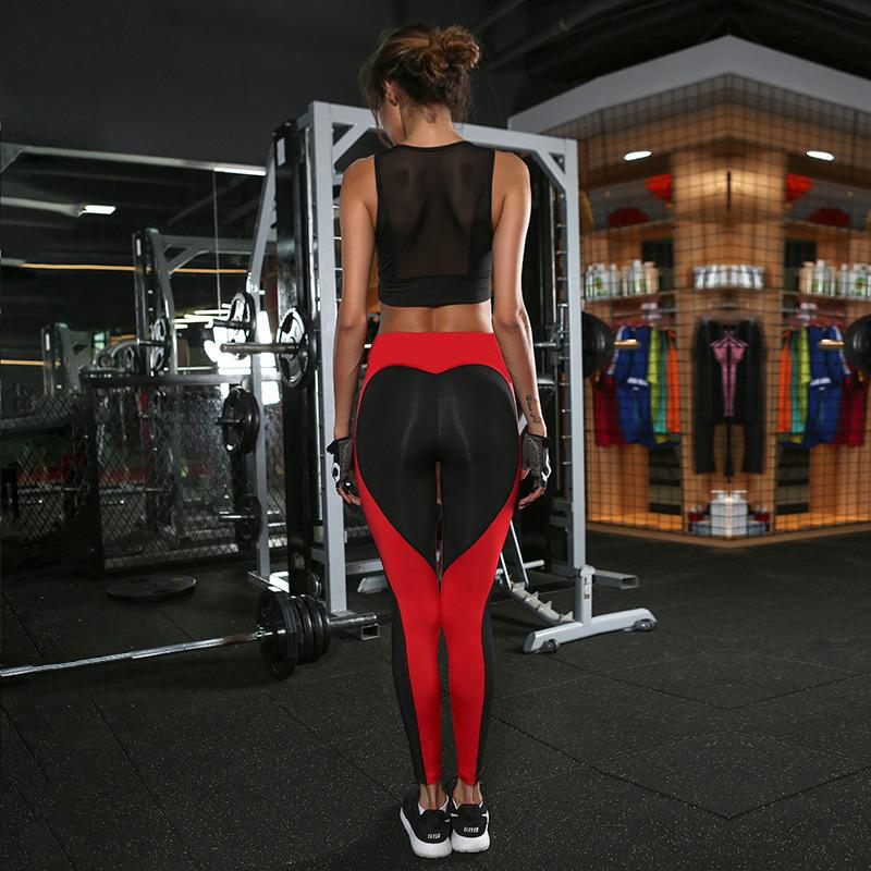 Nueva llegada Womens Sport Girl Sexy Leggings Skinny Stretchy Pants Red or Black Love Tight Fitting Transpirable Autocultivo Yoga Pantalones