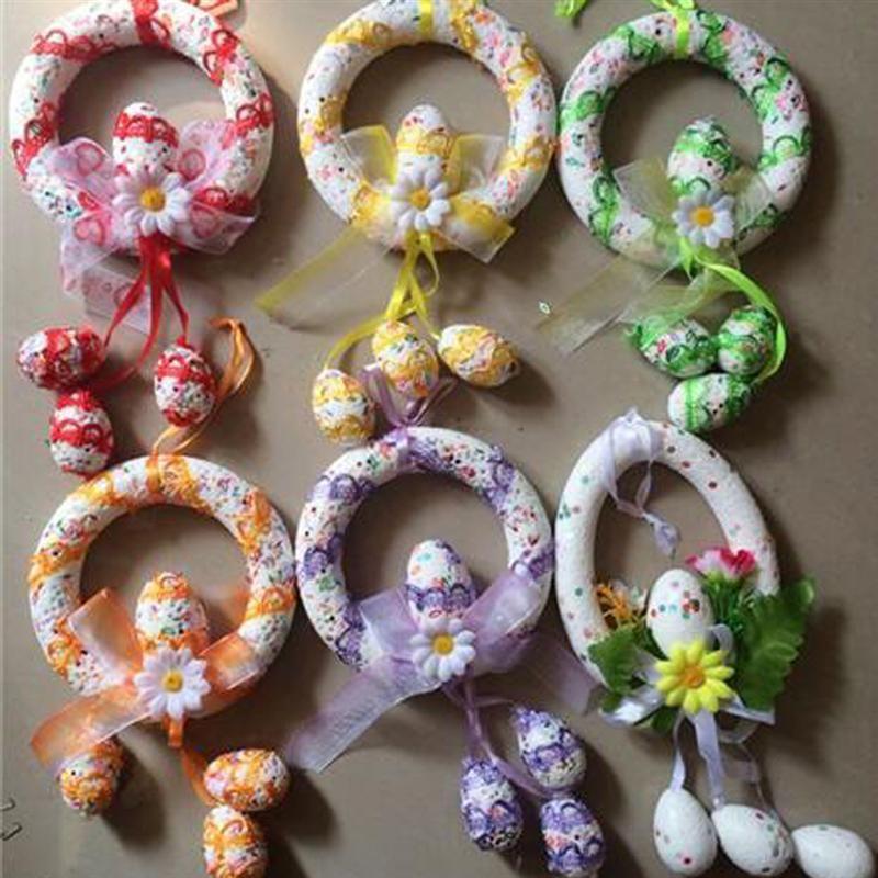 30x15 cm Osterei Dekorative Kranz Party Schaum Dekoration DIY Hängende Ornamente Für Party Urlaub Geschenk Dekoration Ramdon farbe