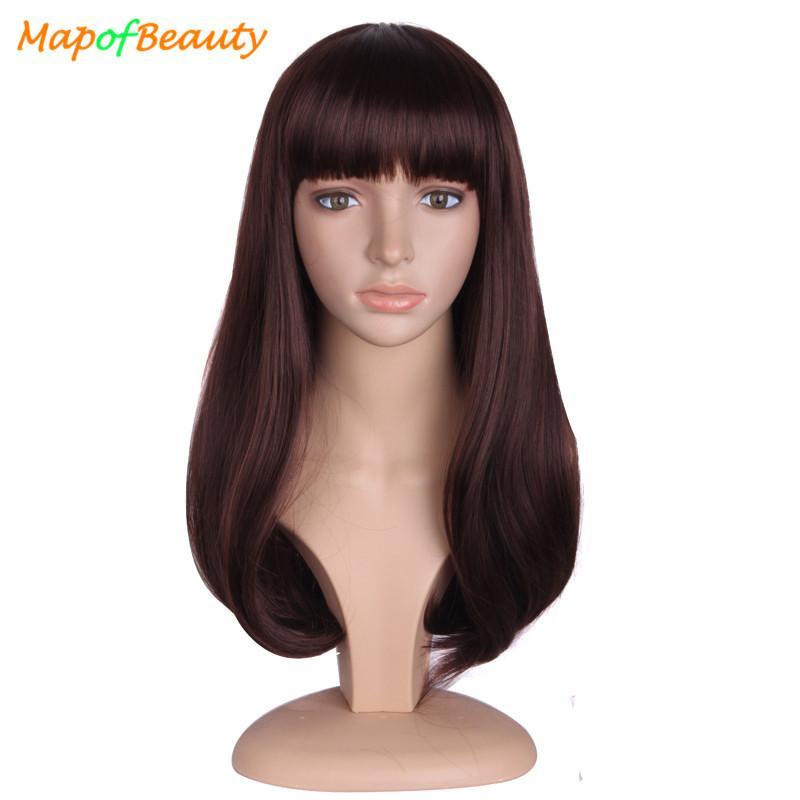 Mapofbeauty 20 Lange Braune Schwarze Haarperucken Fur Frauen Synthetisches Haar Hitzebestandig Mit Flat Bangs Falsche Haarteile Frisuren