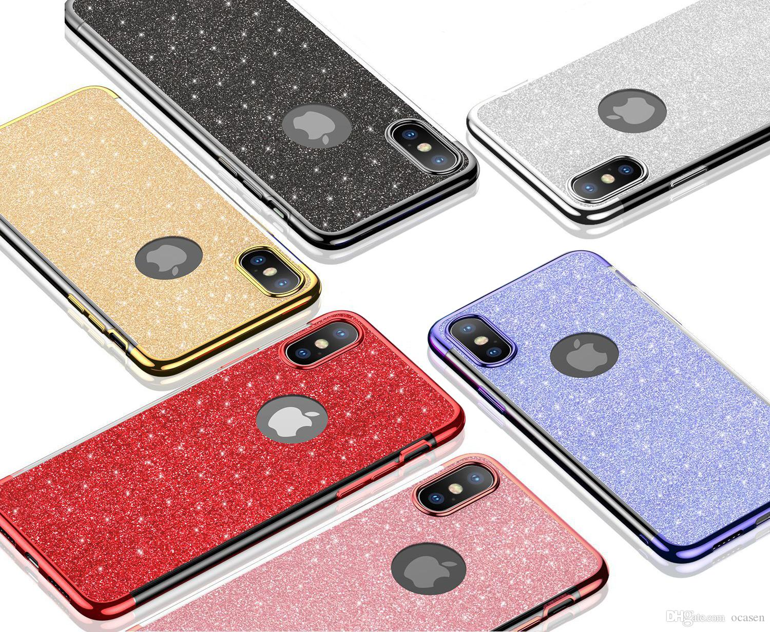 bdce0a30d Metal Electroplating Soft TPU Transparent Clear Back Gel Glitter Phone Case  For IPhone 6 6S 7 8 Plus X XR XS Max Reiko Cell Phone Case Western Cell  Phone ...