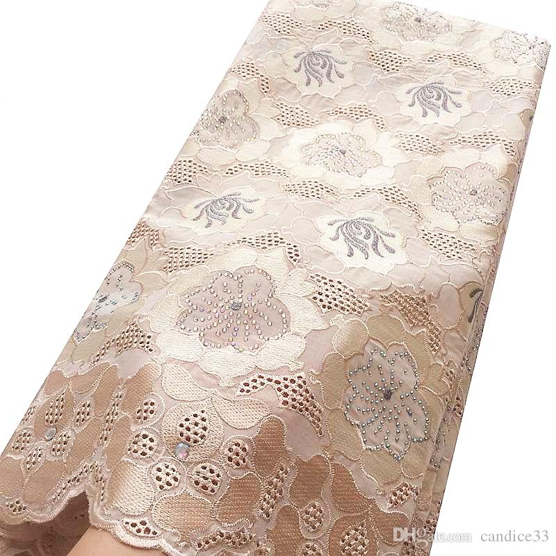 White African Swiss voile Dry Lace Fabrics Cotton Swiss Fabric Lace African Lace Fabric 2018 High Quality With Stones