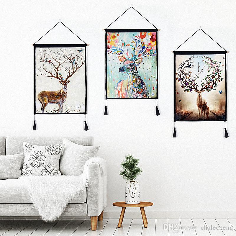 Modern Home Living Room Decor Cotton Linen Painting Deer Horn Wall Art  Hanging Tapestries Paintings with tassels