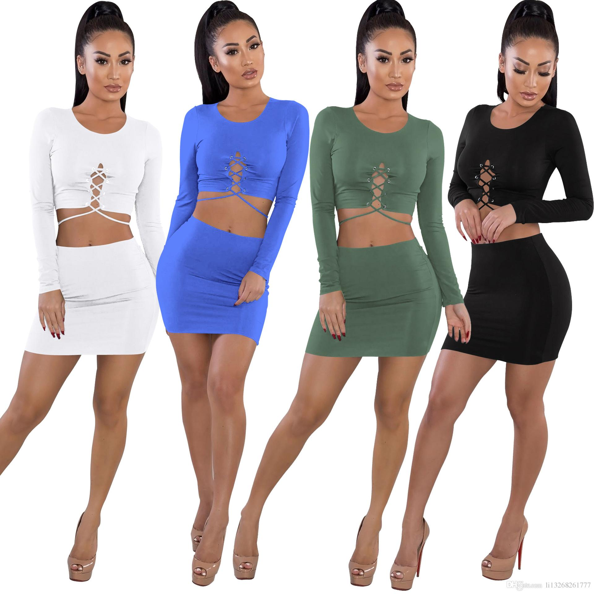 78ce9280e07d1 Fashion Sexy Womens Two Piece Sets 2018 Female Summer Suit Bandage Sexy Two  Piece Set Short Top And skirt Womens Clothing