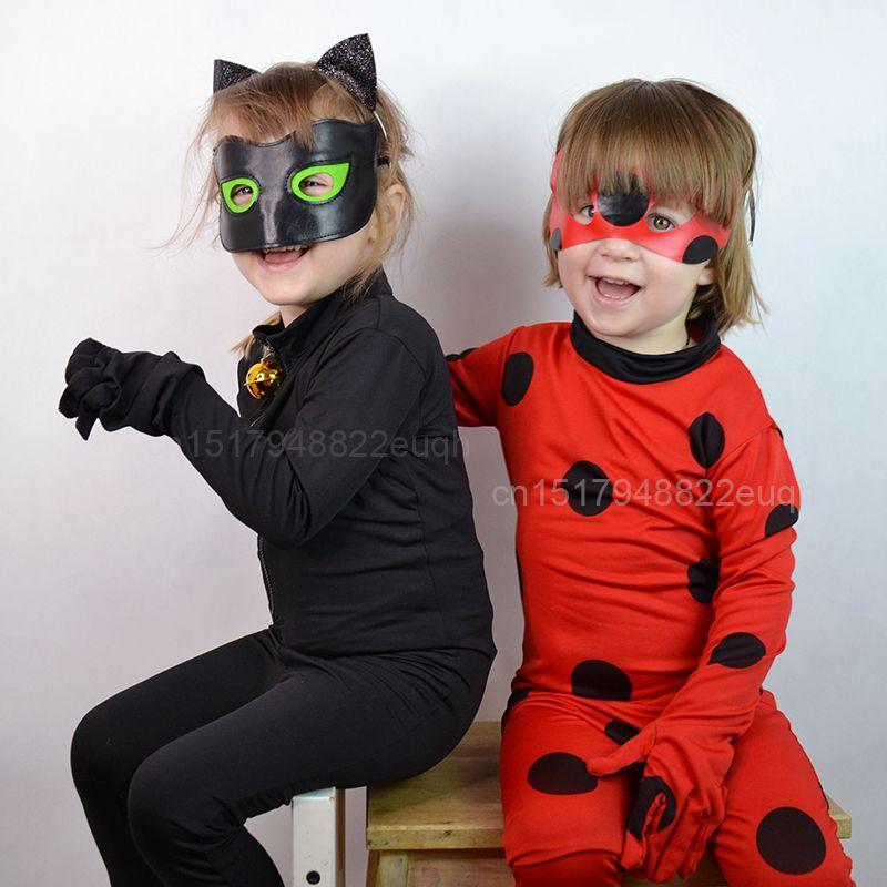 Großhandel Mädchen Lady Bug Kostüme Katze Noir Cosplay Kostüm Für