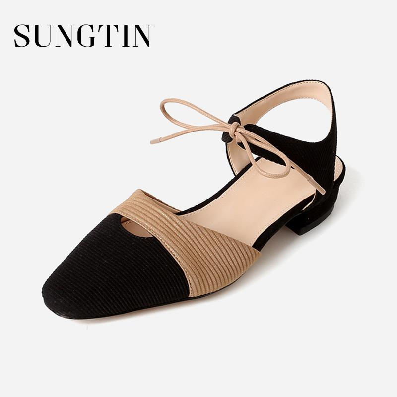 2640dd815d15 Sungtin 2018 New Design Ankle Strap Sandals Women Casual Lace Up Square Toe Sandals  Lady Summer All Match Suede Flat Shoes Cheap Shoes For Women Buy Shoes ...