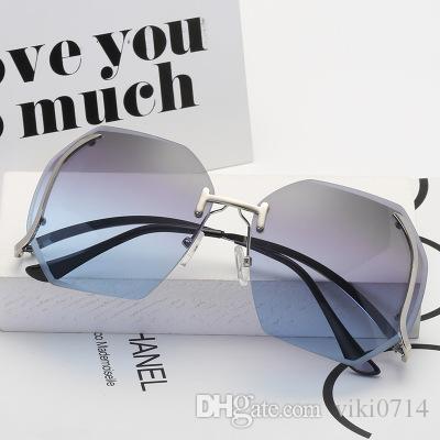 2d96edb25ad 2019 New Large Frame Trimming Frameless Sunglasses Cheap Eyeglasses Online  Sunglasses At Night Lyrics From Viki0714