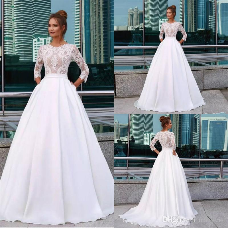 6f470ea378217 Discount Elegant White Princess Wedding Dresses Jewel Neck 3/4 Long Sleeve  Lace Appliques Country Bridal Gowns Pocket Satin Vestido De Novia Bridal  Dress ...