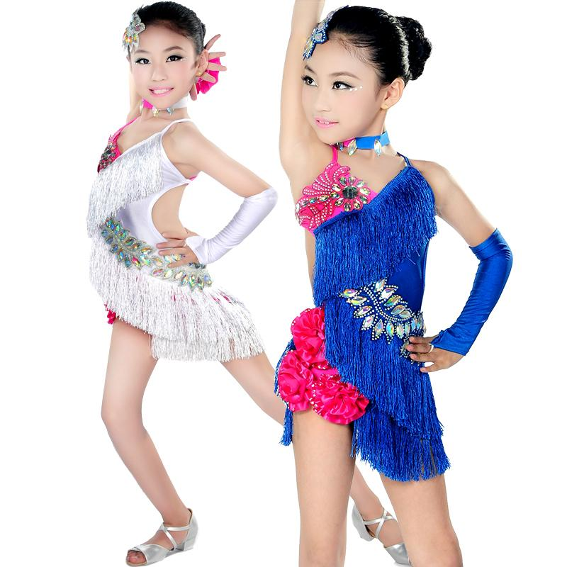 d759ced76 2019 New Girls Latin Skirts Game Performance Clothing Children Dance ...