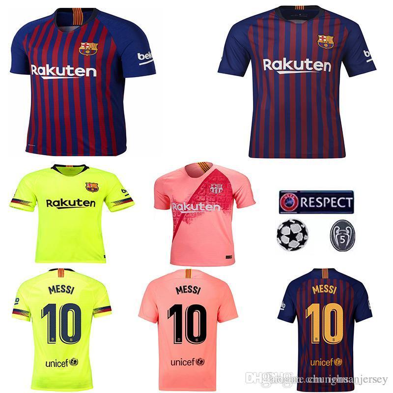 510e59fd0b Compre 2018 19 Barcelona VIDAL SUAREZ O.DEMBELE Camisolas Camisas Coutinho  Messi INIESTA PIQUE Camisa De Futebol Em Casa Longe Futebol Jersey Tamanho  Grande ...