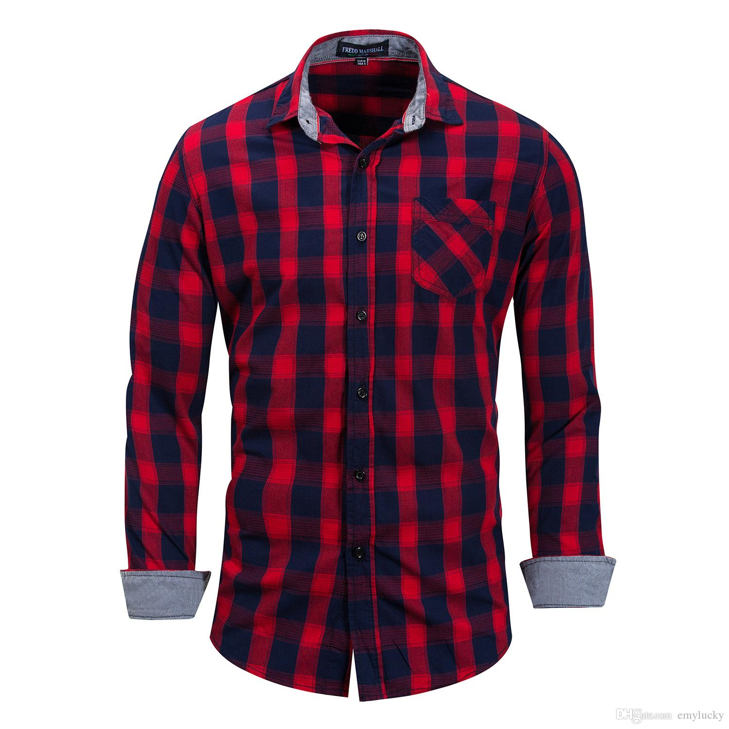 2019 Red Wholesale Men Casual Plaid Shirts Mens Polo Solid Luxury