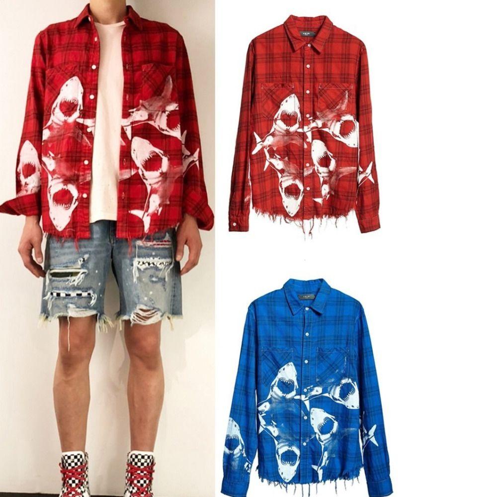 Acheter Dye Tie Dommages Lavage Shirt Veste A1mr Plaid Requin rwqtrf