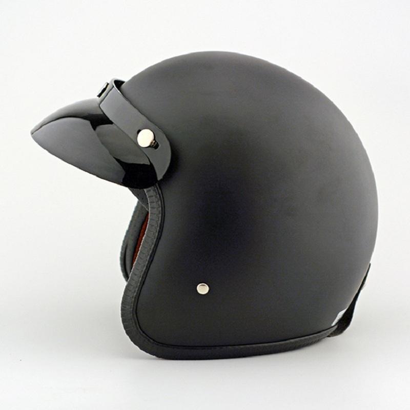 Possbay Black Abs Plastic Motorcycle Helmet Man Scooter Casque Retro