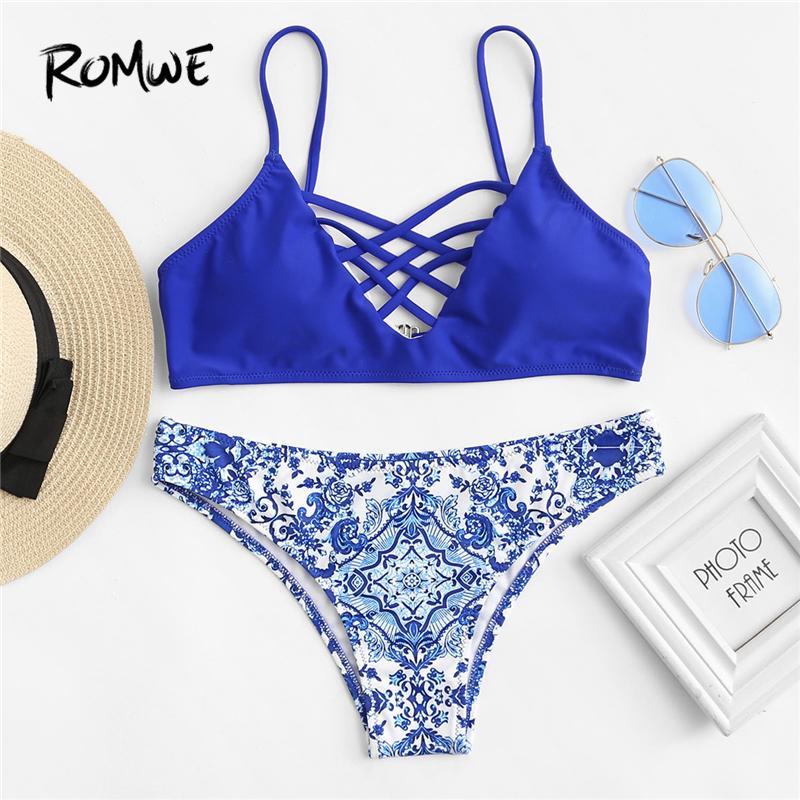 14fdd2d54627b 2019 Wholesale Sport Criss Cross Front Porcelain Print Bikini Set 2018  Summer New Sexy Swimwear Ladies Blue Push Up Beach Bikinis From  Shuokai1995, ...