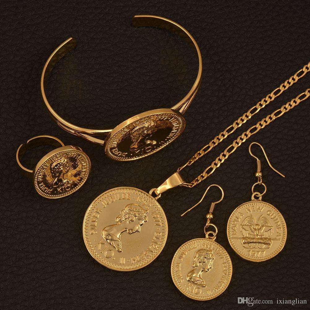 Großhandel Kopie K10 Münze Anhänger Halsketten Ohrringe Armreif Ring