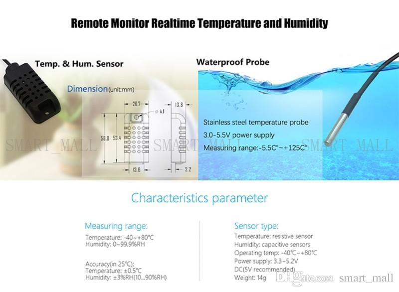 Capteur d'humidité de température Sonoff AM2301 DS1820 Capteur de température de haute précision pour Sonoff TH10 et Sonoff TH16
