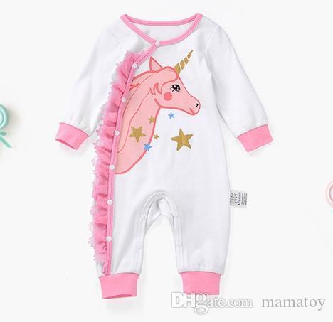 ea16ea7b74a1 Baby Unicorn Long Sleeve Romper Baby Girls Romper Infant Cartoon Jumpsuits  Girl Summer Clothing Baby Pajamas