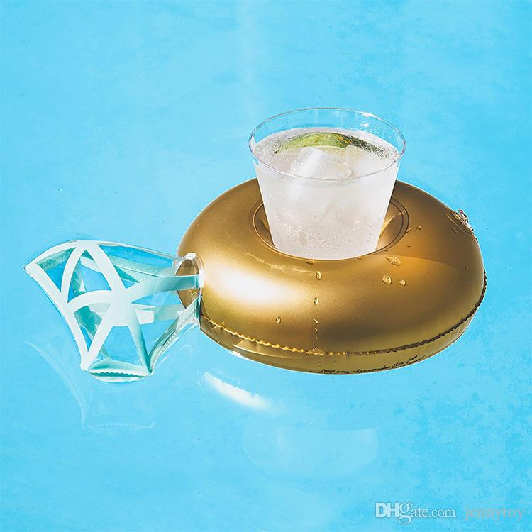30cm Jumbo Diamond Inflatable Drink Cup Holder Summer Hot Sale Cup Seat Inflatable Beach Pool Float Coaster Toys