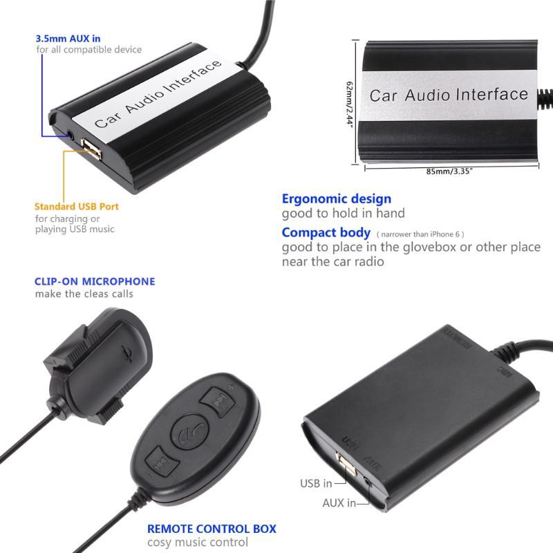 Handsfree Car Bluetooth Kits MP3 AUX Adapter Interface For VW 12PIN Junn12  DropShip