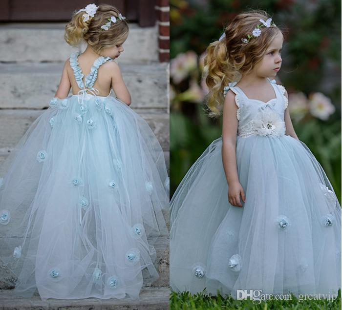 26baa58a7 Classy Sky Blue Layered Tulle Pleated Frock Flower Girls Dresses Ball Gowns  Lovely 3D Flowers Floor Length A Line Princess Gowns Princess Dresses Girls  ...