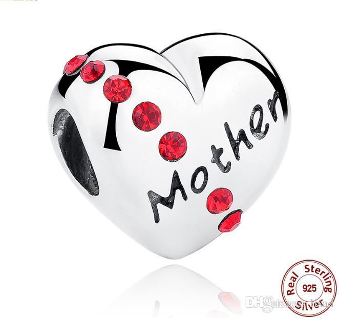 Plata de ley 925 Corazón Diamante Madre / hija / hermana Cuentas sueltas impresas Encantos para pulseras DIY Colgantes Accesorio de joyería como regalos