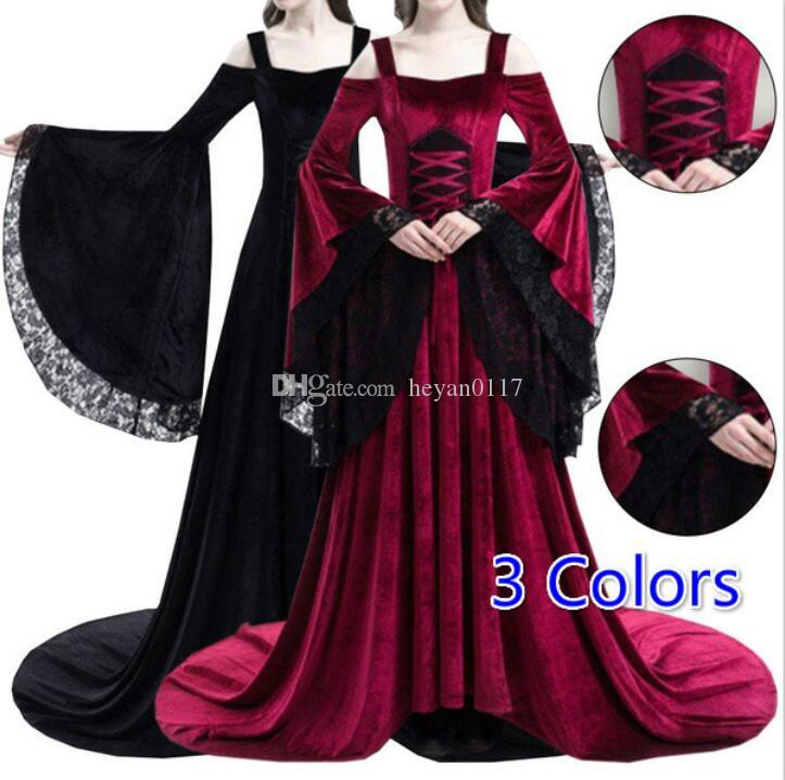 a18a4eb7ab2 2018 Hallowmas Women Sexy Off The Shoulder Medieval Dress Vintage Style  Gothic Dress Floor Length Cosplay Dresses Retro Long Renaissance Medieval  Dress ...