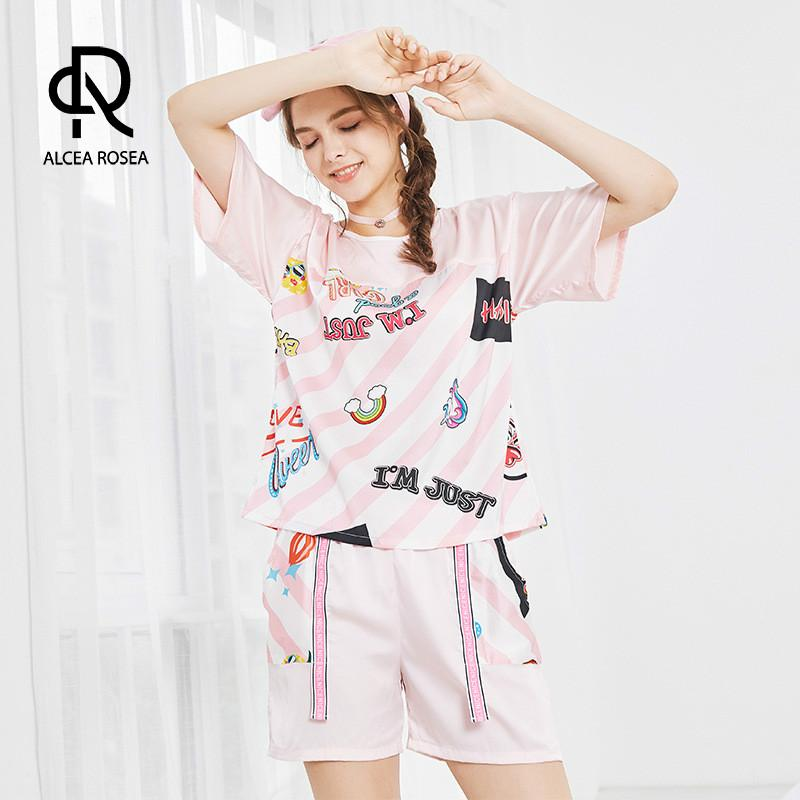 01a6c7f28d 2019 Alcea Rosea Sleepingwear Pajamas Printed House Clothes Nightgown For  Women Short Sleeve Shorts Two Piece Suit AR428 From Clothesg009