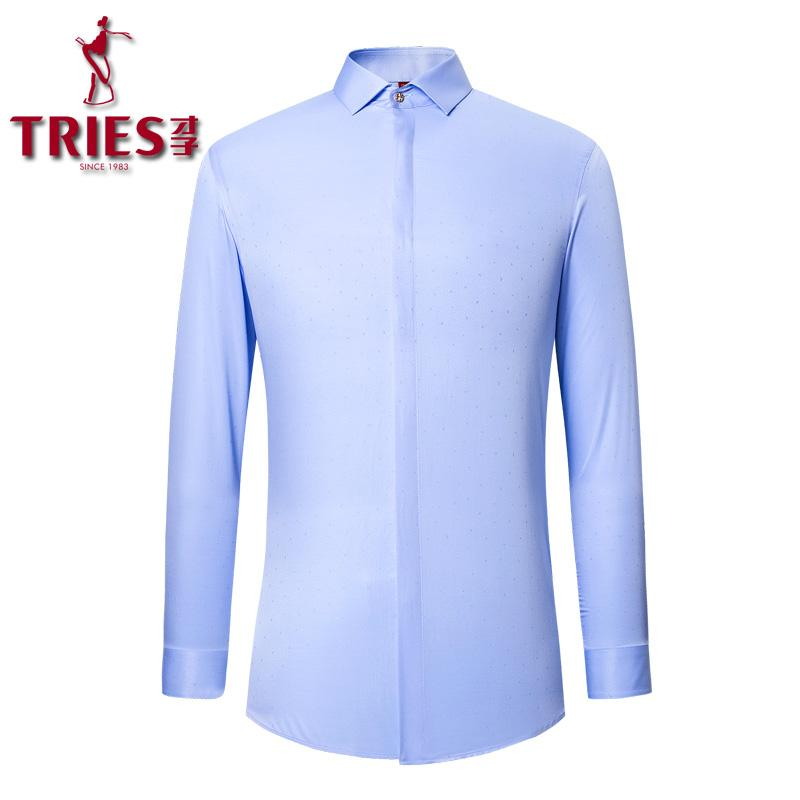 086bc778473 2019 TRIES New Arrived Mens Work Shirts Formal Shirts Men Brand Long Sleeve  Men Dress White Red Blue Male Big SizeM 5XL From Vanilla06