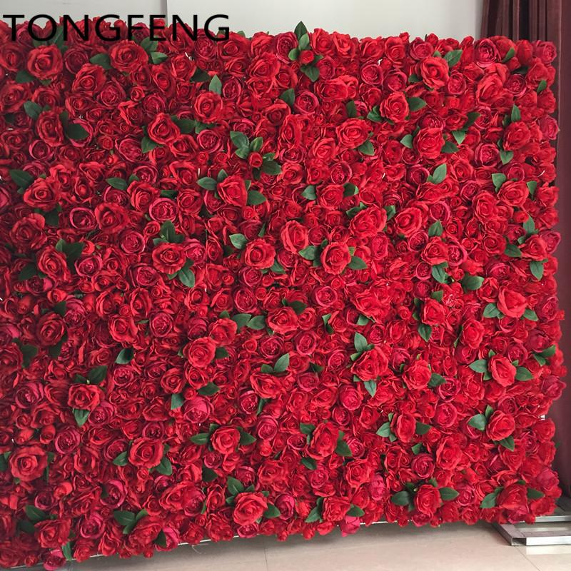 Wholesale Wedding 3d Flower Wall Artificial Silk Rose Peony Wedding