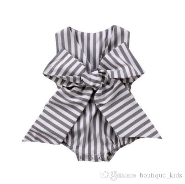 d8fc7a9b4f54 2019 Summer Baby Girl Clothes Striped Bowknot Sleeveless Newborn Girls  Romper Jumpsuit One Pieces Outfit Sunsuit Infant Kids Boutique Clothing  From ...