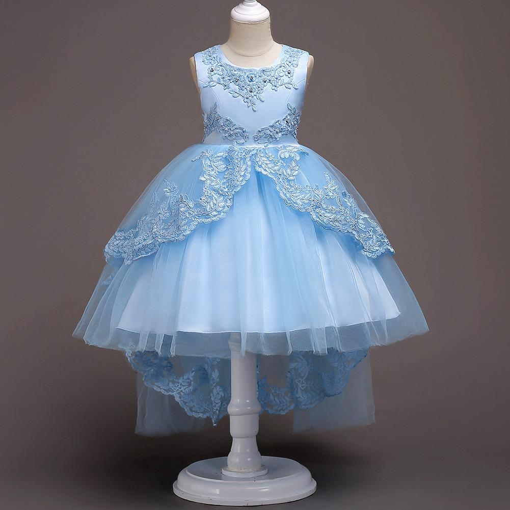 9a80be60e124d Pretty Lace Blue Puffy Flower Girl Dresses 2018 High Low Lace Appliques  Communion Dresses Pageant Dresses For Little Girls