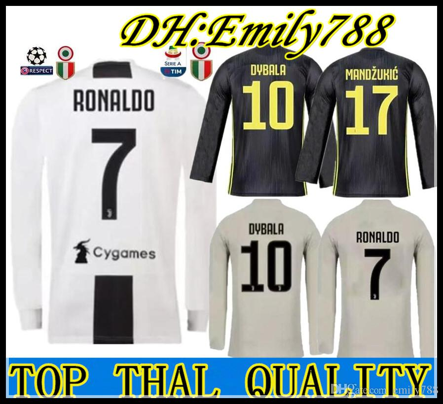 23f20b68b26 2019 JUVENTUS Long Sleeve Soccer Jersey 18 19 Juve Home 3RD RONALDO  10  DYBALA Away Soccer Shirt 2019 MANDZUKIC PJANIC HIGUAIN Football Uniform  From ...
