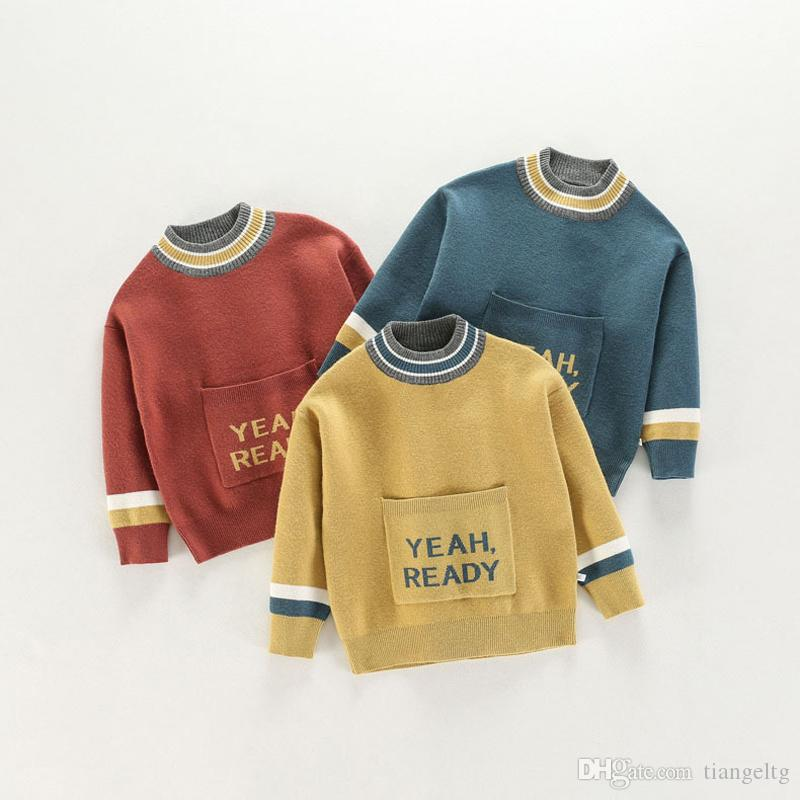 14c95a54cf2d Kids Sweaters Pullover Patchwork Color Collar Pure Cotton Jumper ...