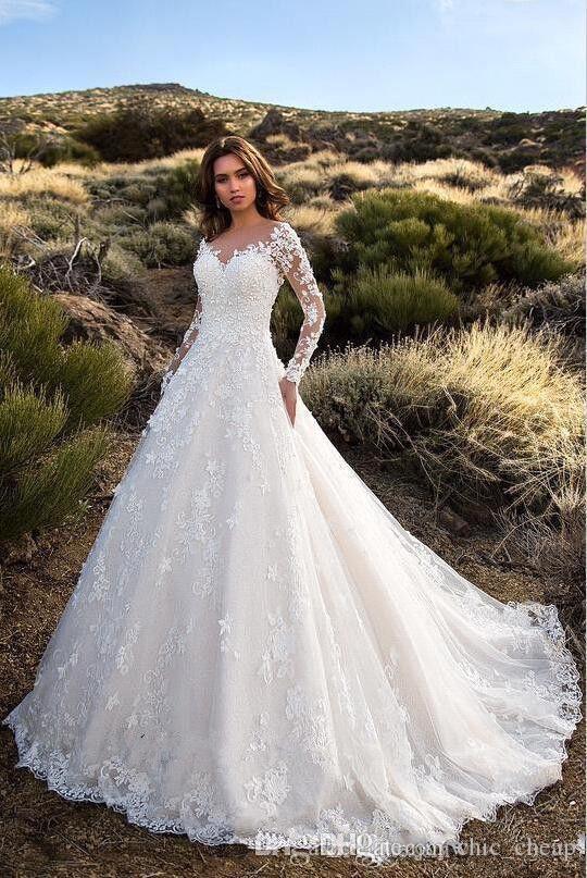 Sexy cuello en V sin respaldo una línea de encaje transparente apliques de manga larga vestido de novia nupcial vestidos de boda clásicos
