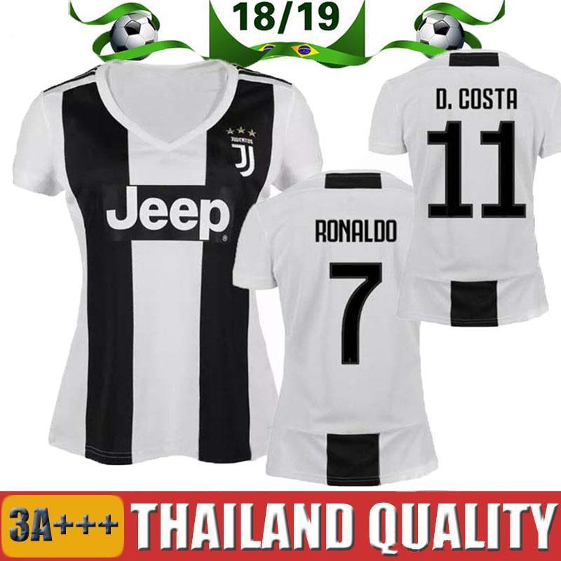 detailed look 5331b 46376 2019 Woman Juventus Soccer Jersey 18/19 Home 7 Ronaldo Soccer Shirt  CHIELLINI HIGUAIN DYBALA MANDZUKIC Girl Football