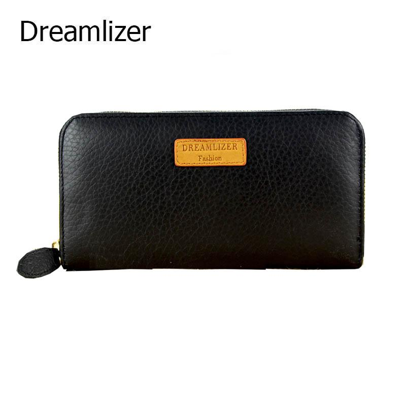 Real Genuine Leather Wallet Long Brand Design Leather Female Hand Clutch Purse Zipper Around Coin Purse for Iphone 7