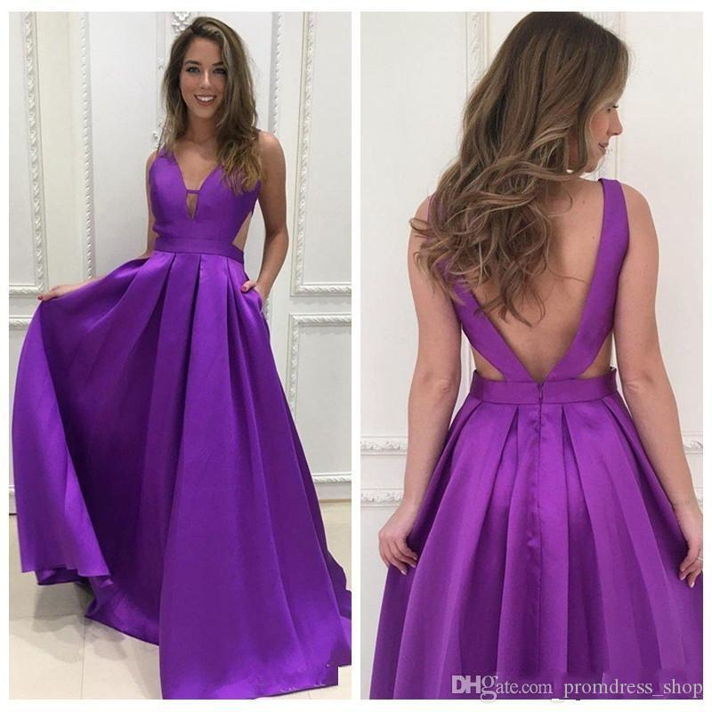 b16bc3ac59b Cheap Purple Satin Long Prom Dresses Deep V Neck A Line Sexy Backless  Evening Wear Homecoming Dress Graduation Gowns Prom Dresses Online Uk Prom  Dresses ...