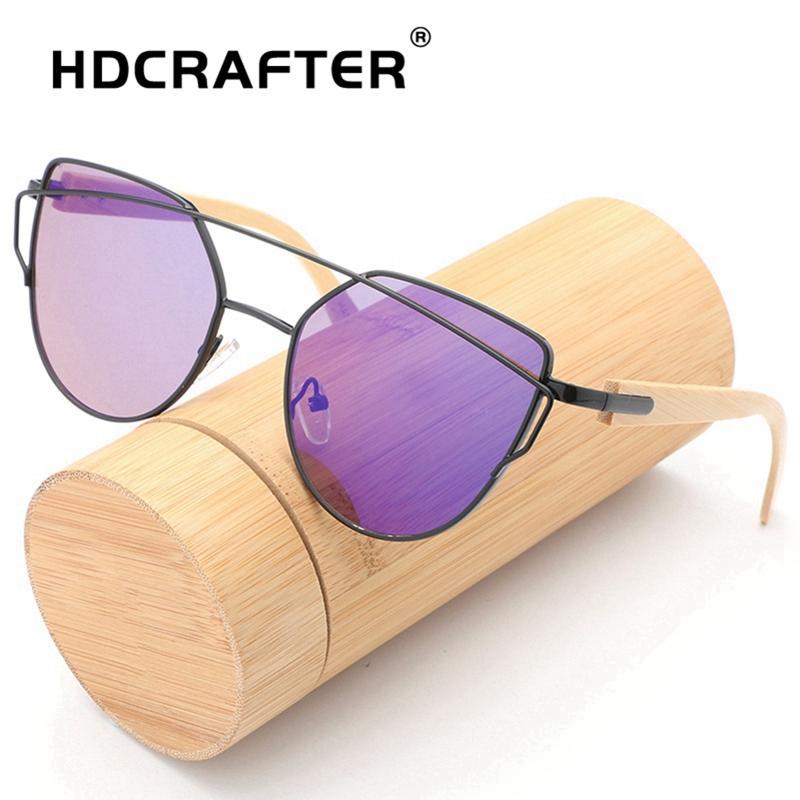 3f977601477 HDCRAFTER Bamboo Sunglasses Women Cat Eye Luxury Brand Designer Sun Glasses  Retro Small Red Ladies Sunglass Black Eyewear Oculos Suncloud Sunglasses  Foster ...